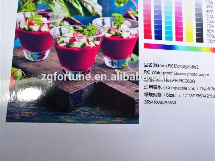 Guangzhou 180GMS~260GMS waterproof high glossy RC photo paper